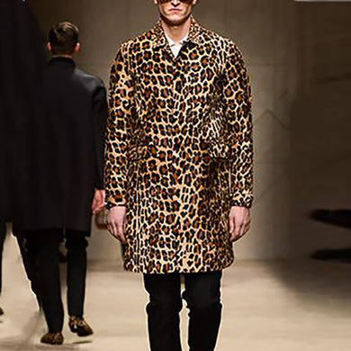 Men's Fashion Lapel Leopard Print Coat