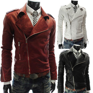 Cracked texture metal multi-zip locomotive leather clothing