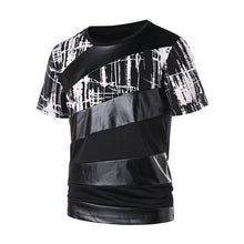 Load image into Gallery viewer, Short sleeve printed PU splicing round collar T-shirt