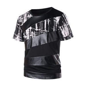Short sleeve printed PU splicing round collar T-shirt