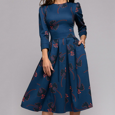 Elegant Floral Print Three Quarter Sleeves Dress
