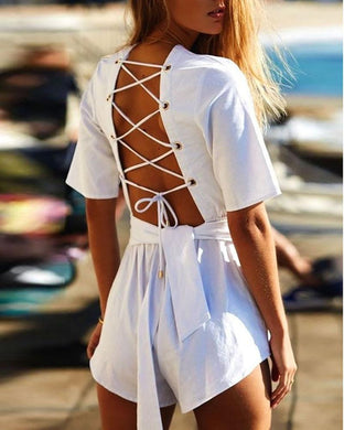 Cross Strap Backless Sexy Jumpsuit