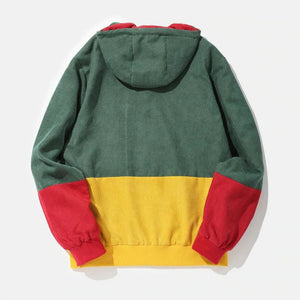 Men's Casual Drawstring Hooded Single-breasted Coloring Sweatshirt