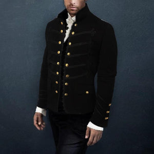 Fashion Men's Decorative Buckle Long Sleeve Jacket