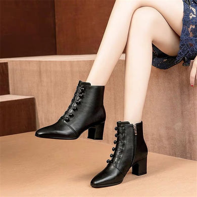 Fashion ladies round-toed thick heel ankle boots
