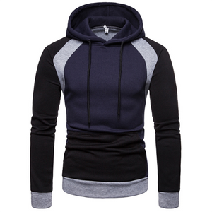 Men's Fashion Trend Stitching Slim Hoodie