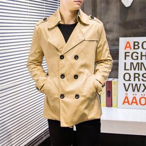 Stylish Solid Color Double-Breasted Trench Coat