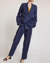 Load image into Gallery viewer, Lace-Up Striped Suit Jacket Straight Pants Two-Piece Suit