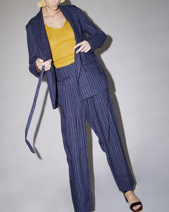 Lace-Up Striped Suit Jacket Straight Pants Two-Piece Suit