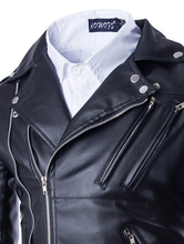 Load image into Gallery viewer, PU Leather Lapel Zipper Long Sleeve Leather Clothing