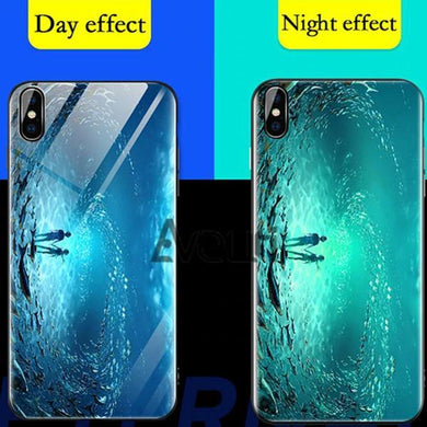 Luxury Luminous Transparent Glass Case For Iphone