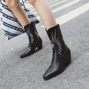 Retro ladies printed color pointed toes martin boots