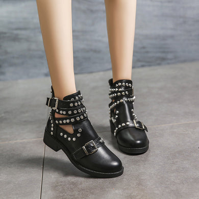 Women Fashion Rivet Belt Plain Flat Boots
