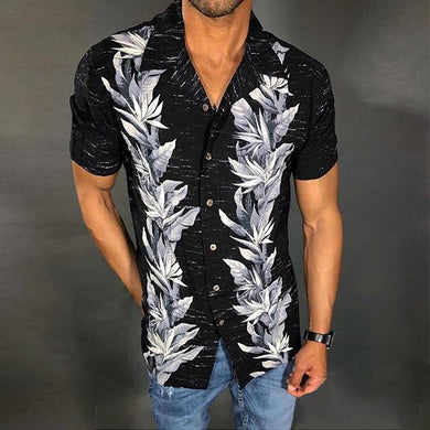 Men's Fashion Lapel Print Short Sleeve Shirt