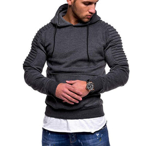 Striped pleated raglan sleeves hooded sweatshirt