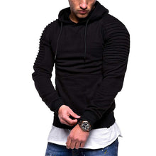 Load image into Gallery viewer, Striped pleated raglan sleeves hooded sweatshirt