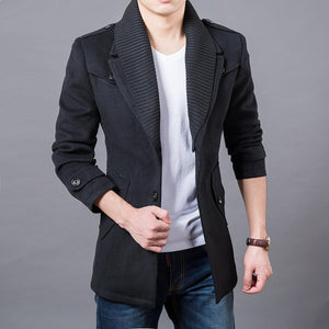 Men Double Collar Fashion Windbreaker