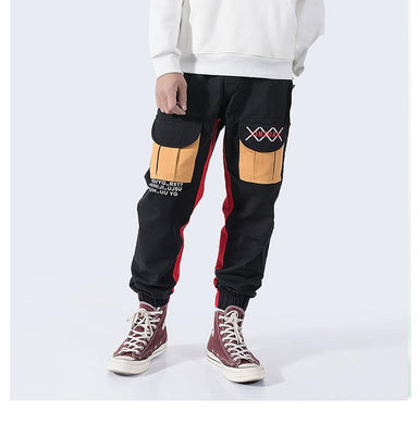 Straight casual pants loose multi-pocket pants