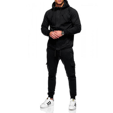 Men Loose Solid Color Sports Suit