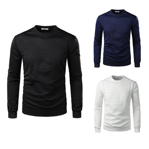 Men's Fashion Solid Color Embossing Sweatshirt