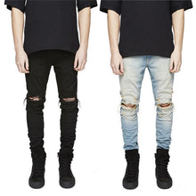 Load image into Gallery viewer, Fashion Solid Color Ripped Jeans