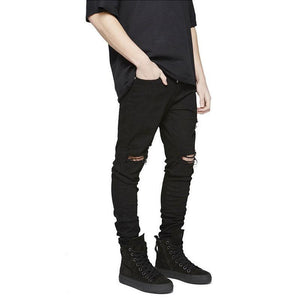 Fashion Solid Color Ripped Jeans