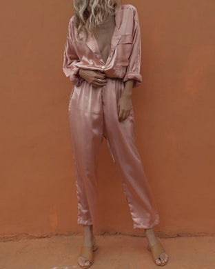 V-Neck Sexy Satin Shirt Trousers Suit