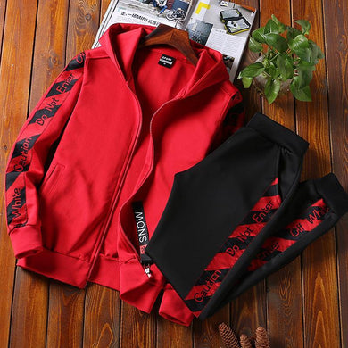 Sports Men's Casual Running Hooded Set