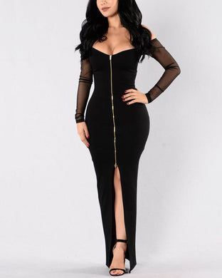 Deep V Sexy Mesh Stitching Zip Dress