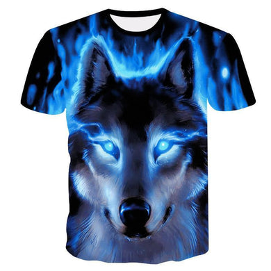 Blue Wolf 3D Digital Print Short Sleeve T-Shirt