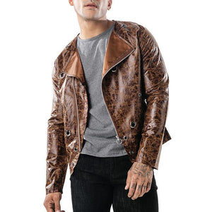 Dark-Skinned Leather Diagonal Zip-Up Hoop Jacket