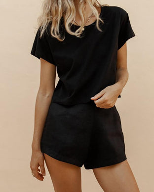 Round Neck T-Shirt Shorts Suit