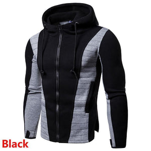 Men's Slim Hooded Quilted Patchwork Colour Hoodies