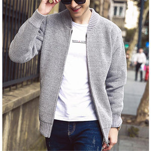 Fashionable Pure Color Baseball Collar Knit Cardigans