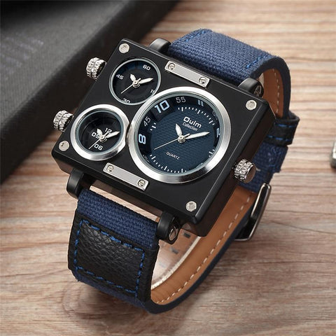 Fashion Mens Multiple Time Zones Square Sport Watch