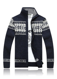 Jacquard Slim Collar Knit Casual Jacket Male
