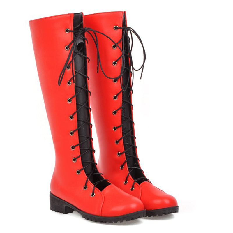 Women's Fashion Flat-Bottomed Lace-Up Boots