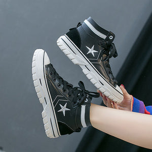 Casual star embroidery lace-up high-top ankle boots