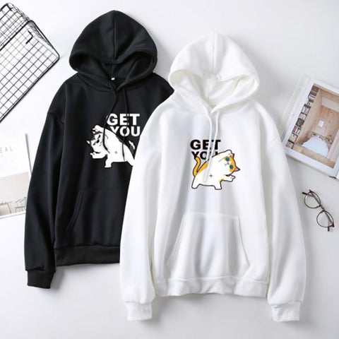 Hooded  Drawstring Patch Pocket  Printed  Batwing Sleeve Hoodies