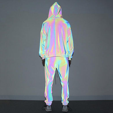 Fashion mens laser loose hoodie long pants suit TT070