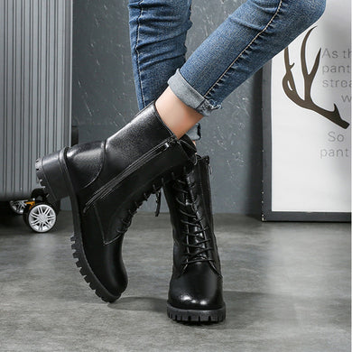 Women's fashion black plus velvet warm boot