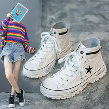 Load image into Gallery viewer, Casual star embroidery lace-up high-top ankle boots