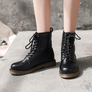 Hip pop style lacing pure color ankle boots