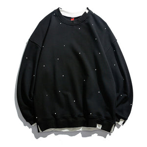 Men'S Casual Round Collar Dot Printing Loose Sweatshirt