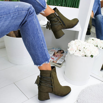 Women's casual solid color plaid tassel ankle boots