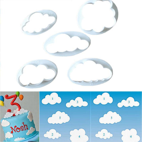 5PC Cloud Plastic Fondant Cookie Cutter-kitchen-Pocket Outdoor-Pocket Outdoor