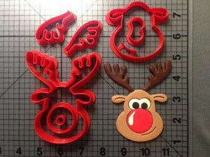 Custom Made 3D Printed Cookie Cutters Rudolph the Reindeer Cookie Cutters-kitchen-Pocket Outdoor-reindeer 2 inch-Pocket Outdoor