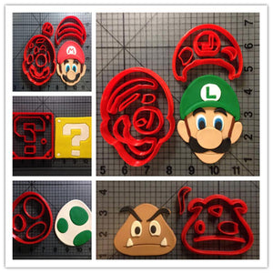 Cute Custom Made 3D Printed Game Super Mario Fondant Cupcake Cup Cookie Cutters-kitchen-Pocket Outdoor-Pocket Outdoor