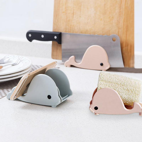 Cute whale modeling storage rack Soap box kitchen knife cutting board holder wall rack with Sucker Multi-function use knife seat-storage organizer-Pocket Outdoor-Pocket Outdoor
