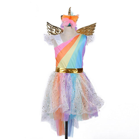 Girl's Rainbow Unicorn Costume-PocketOutdoor-L-PocketOutdoor